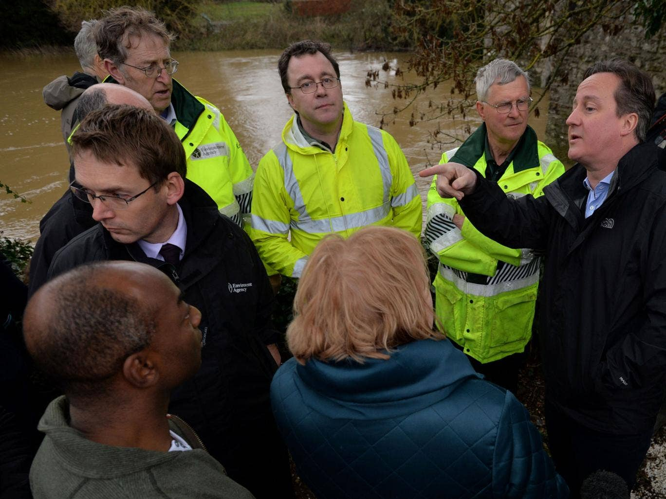 David Cameron with residents in Yalding, Kent