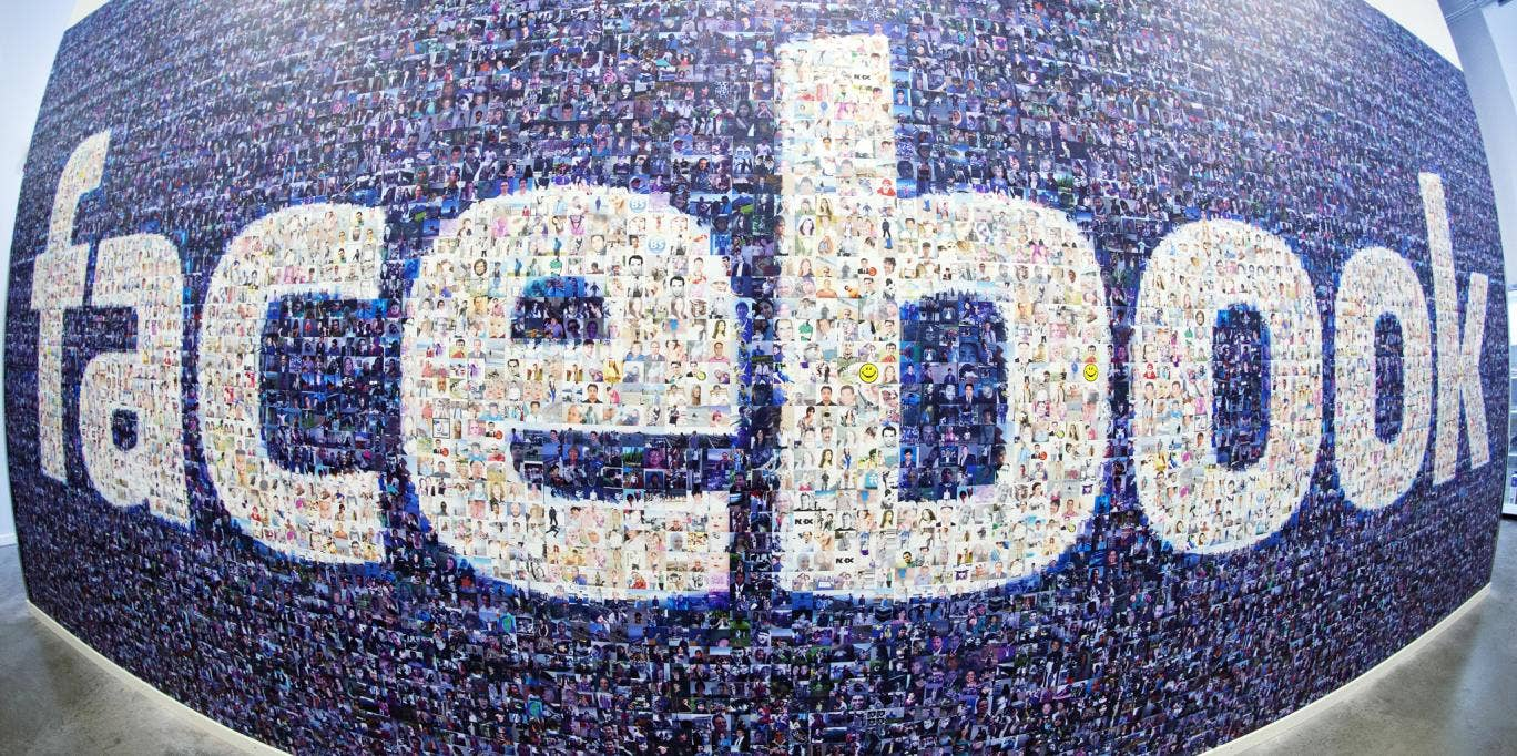A Facebook logo made up from pictures of users. Many teens are turning their back on the social network
