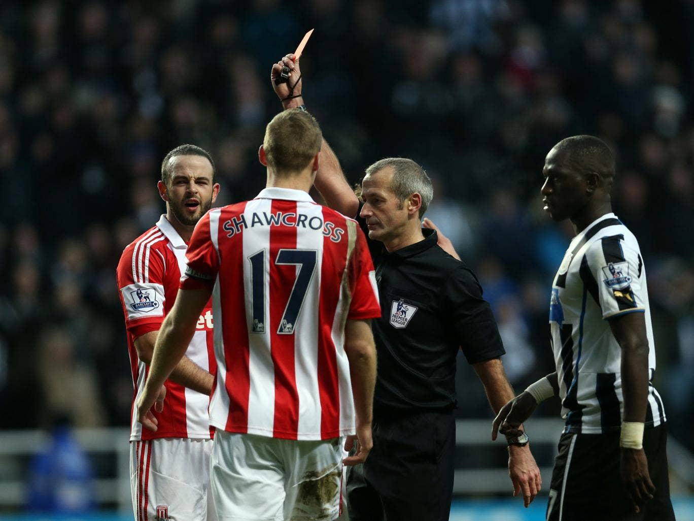 Stoke defender Marc Wilson is sent off after giving away a penalty in the 5-1 defeat to Newcastle on Boxing Day