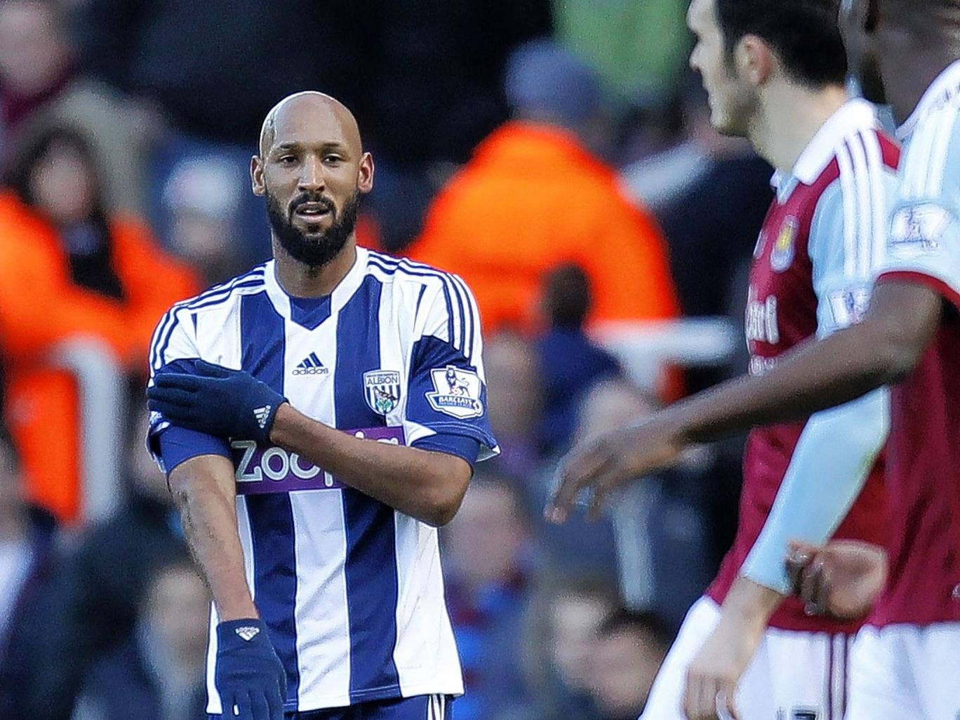 Nicolas Anelka appears to make the 'la quenelle' gesture after scoring the first goal for West Brom in the 3-3 draw against West Ham