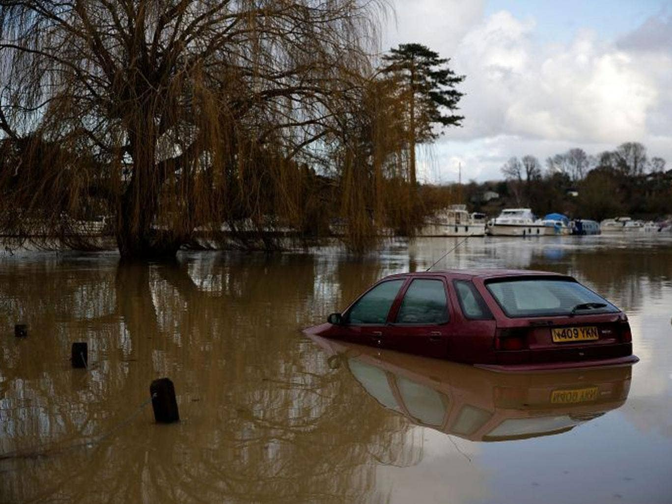 Extreme: a car lies abandoned in Tovil, Kent