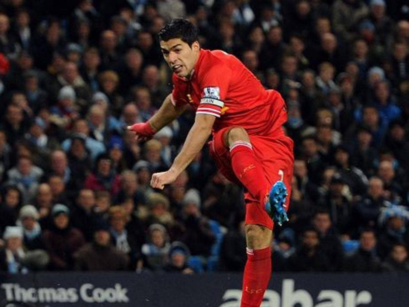 Luis Suarez of Liverpool comes close during the Barclays Premier League match between Manchester United and Liverpool