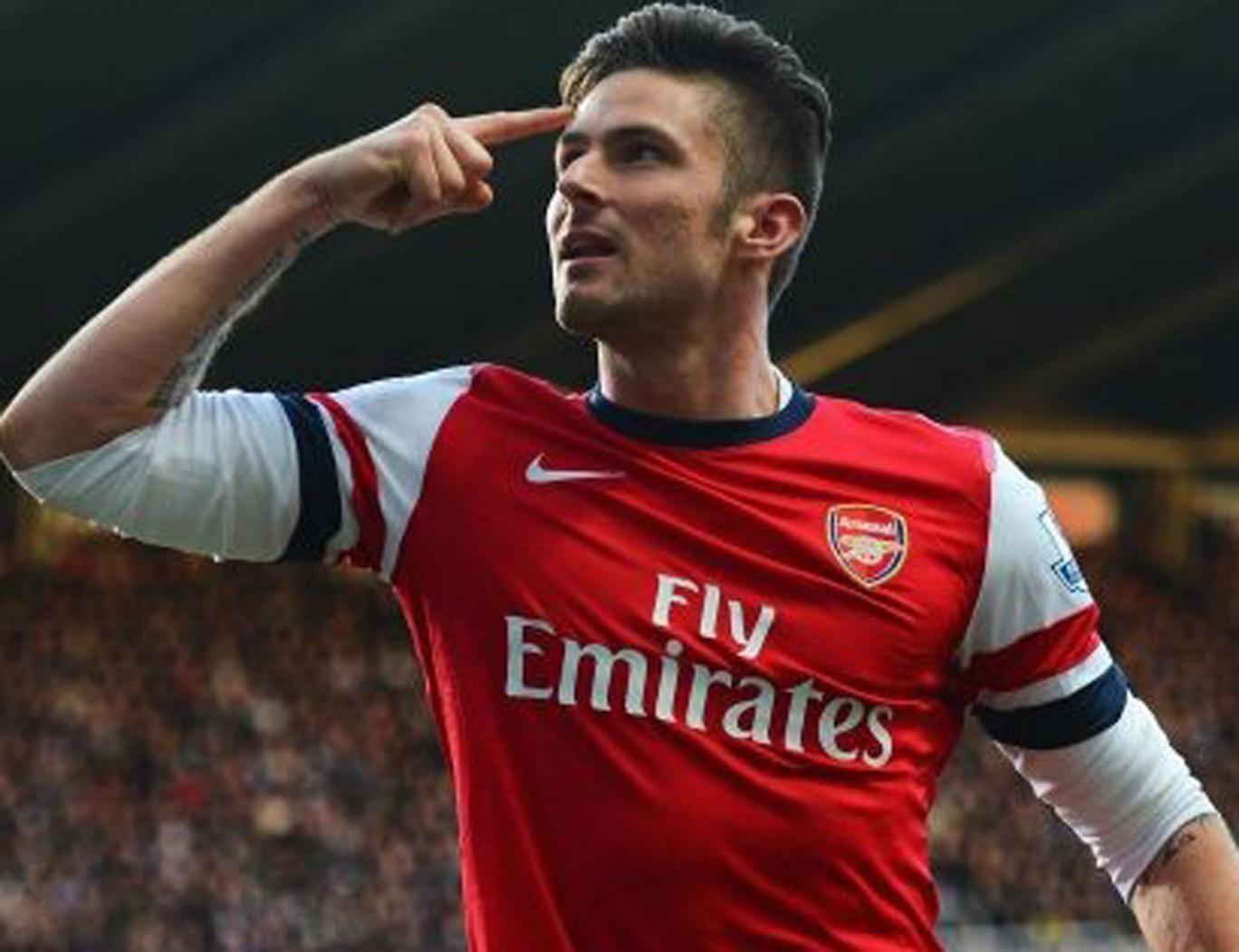 Arsenal's Olivier Giroud celebrates his goal against Newcastle