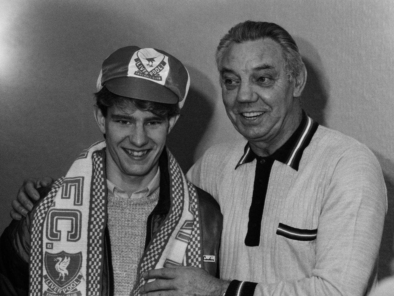 Wayne Harrison is unveiled by the Liverpool manager Joe Fagan in 1985