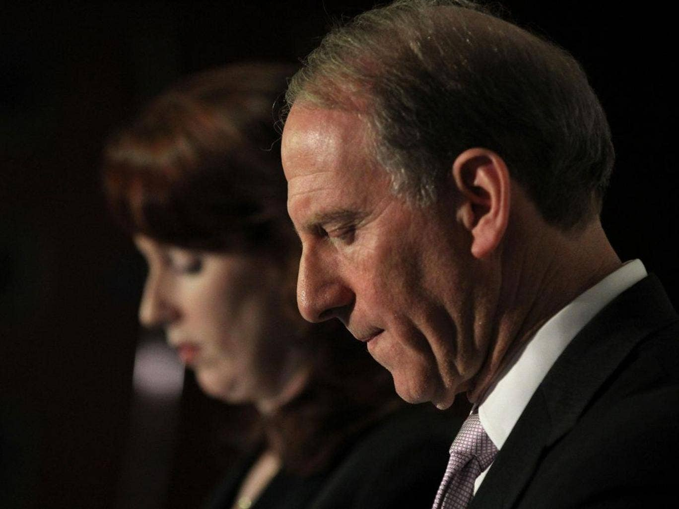 Former US diplomat Richard Haass, pictured with co-chair Meghan O'Sullivan, said he had not managed to secure consensus on a final set of proposals to deal with flags, disputed parades and the legacy of the Troubles before his end-of-year deadline