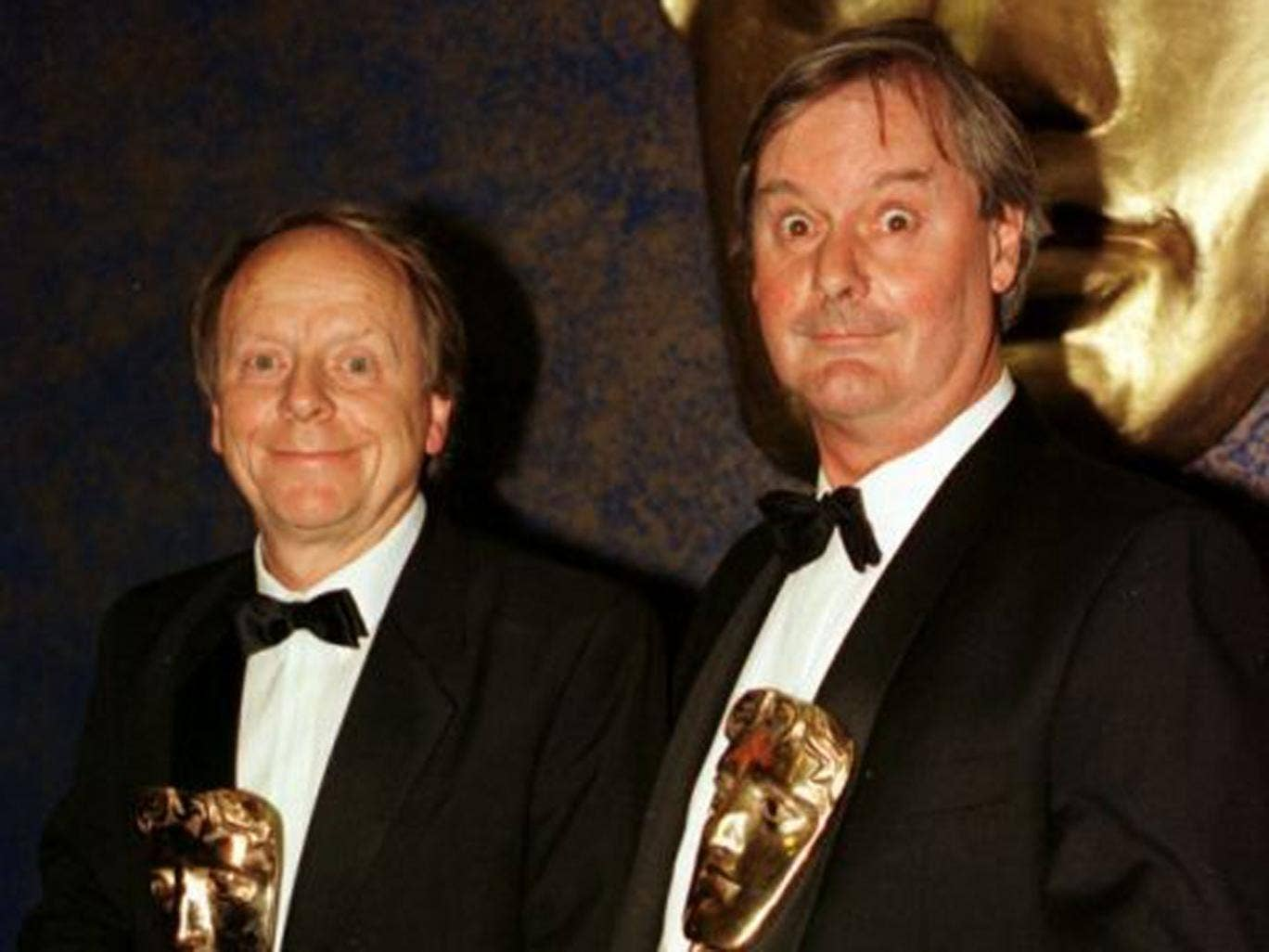 John Fortune (right) with John Bird after they received their 1997 Bafta awards for Best Light Entertainment Performance