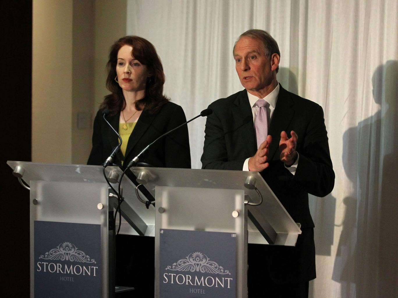 Former US diplomat Richard Haass and co-chair Meghan O'Sullivan speak at the Stormont hotel in Belfast. Overnight talks failed to find agreement on any of three topics