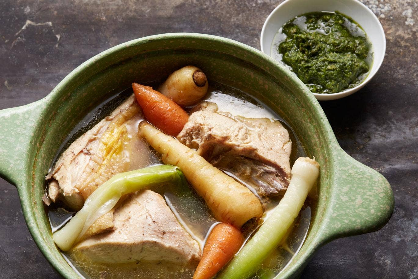 Warming: Poached cockerel with roots