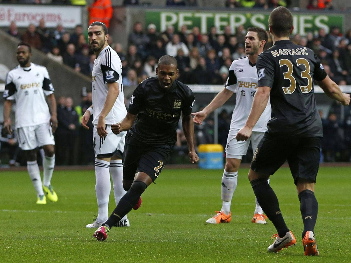 Fernandinho celebrates after scoring the first goal in Manchester City's 3-2 victory over Swansea