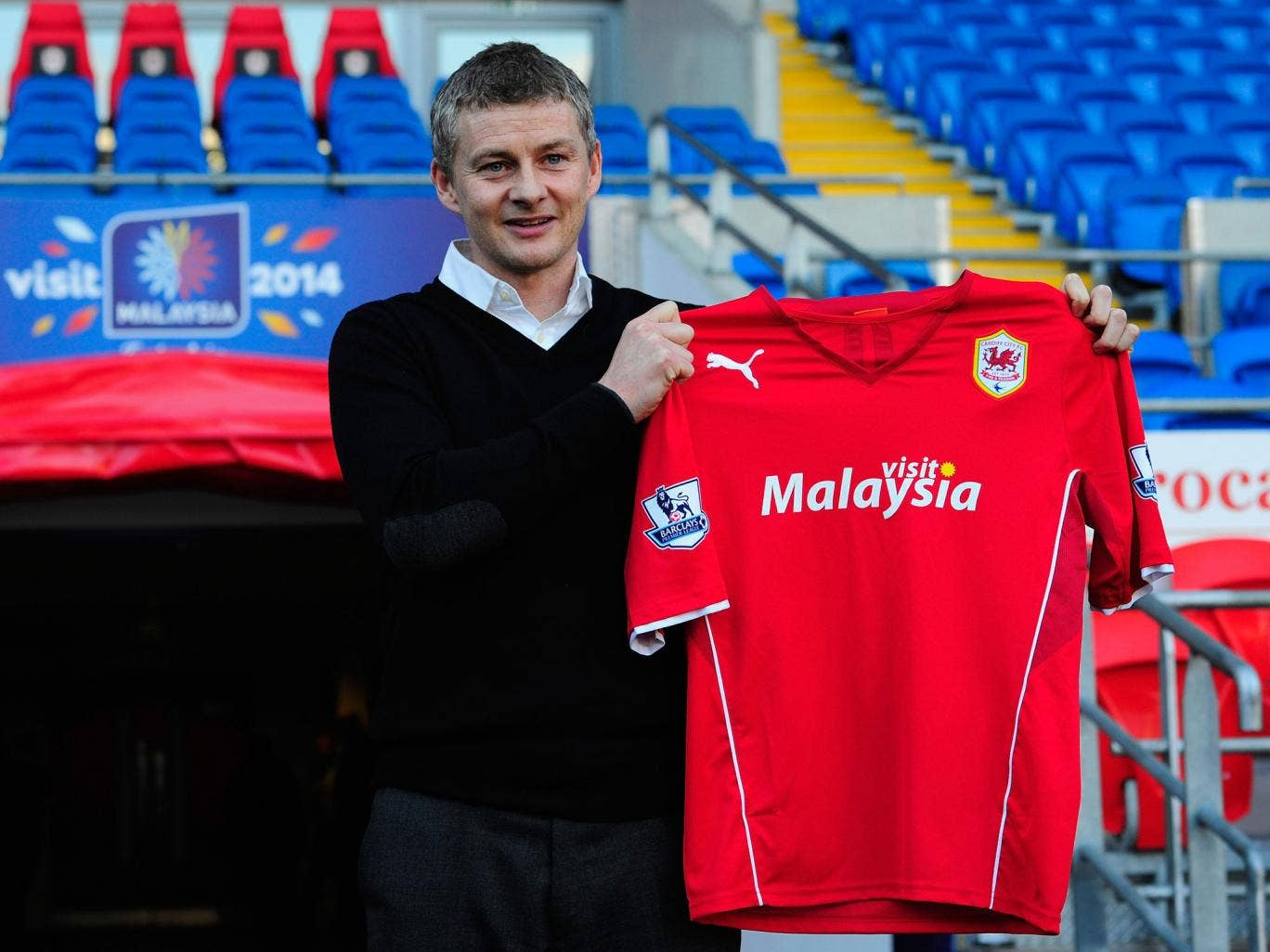 Ole Gunnar Solskjaer is presented as the new manager of Cardiff City