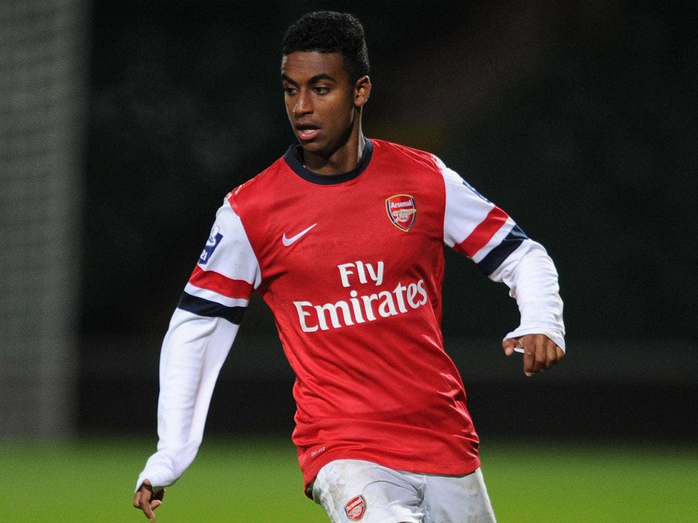 Gedion Zelalem makes a pass during Arsenal's U21 match against Norwich U21s at Carrow Road in November