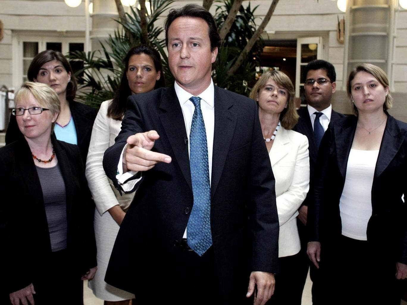 David Cameron in 2006, with candidates for the 2010 election, announcing a drive for more women to be selected