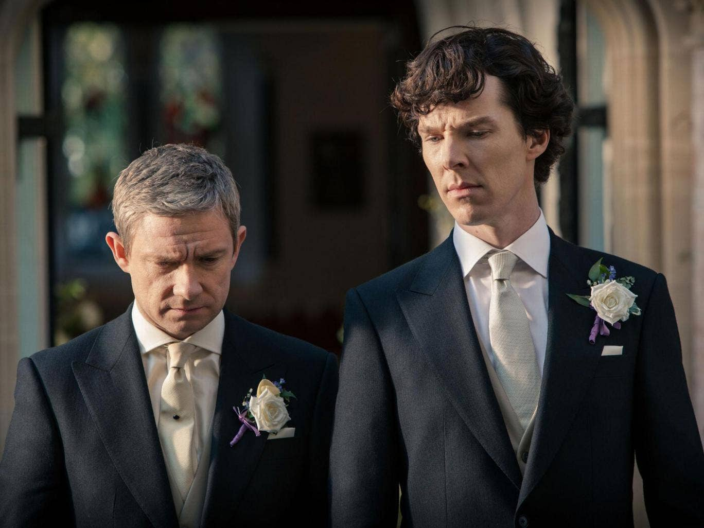 John and Sherlock look pensive in 'The Sign of Three'