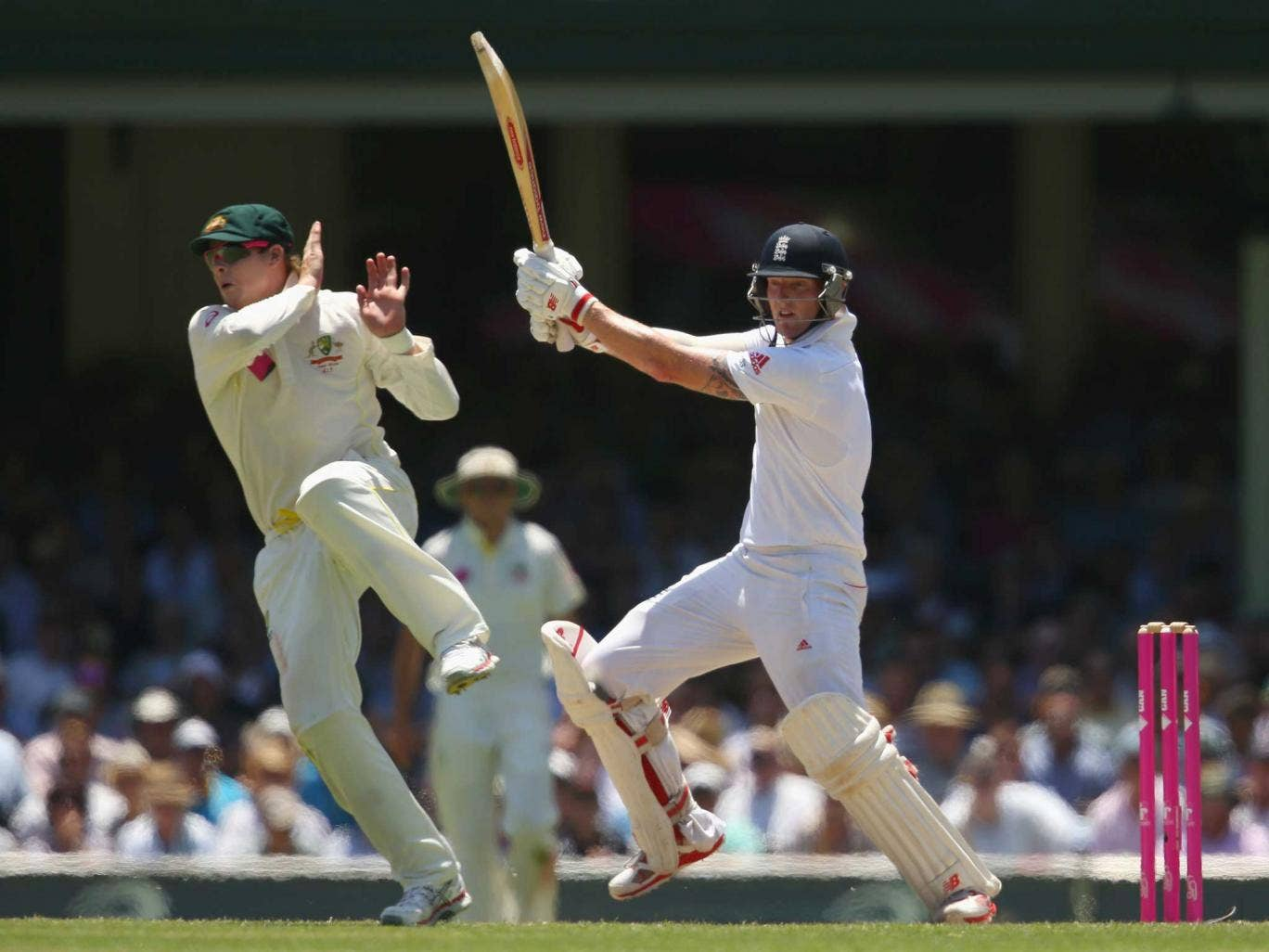 No England player reached 50, with Ben Stokes, who took six for 99 on day one, the top scorer with 47