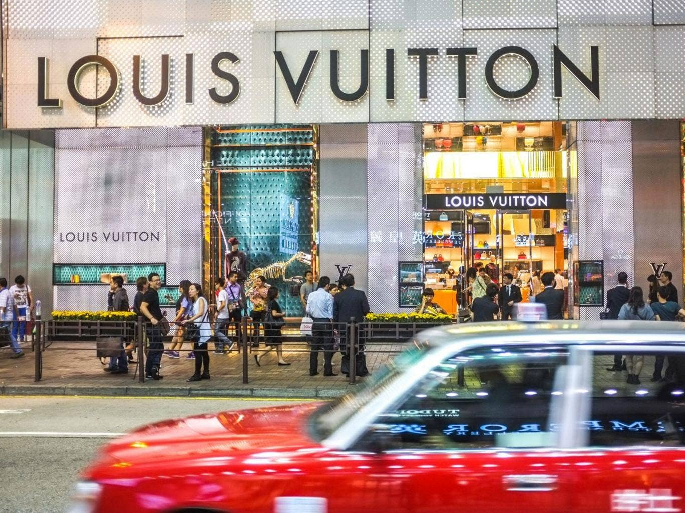 Attention to retail: Shoppers outside Louis Vuitton on Canton Road