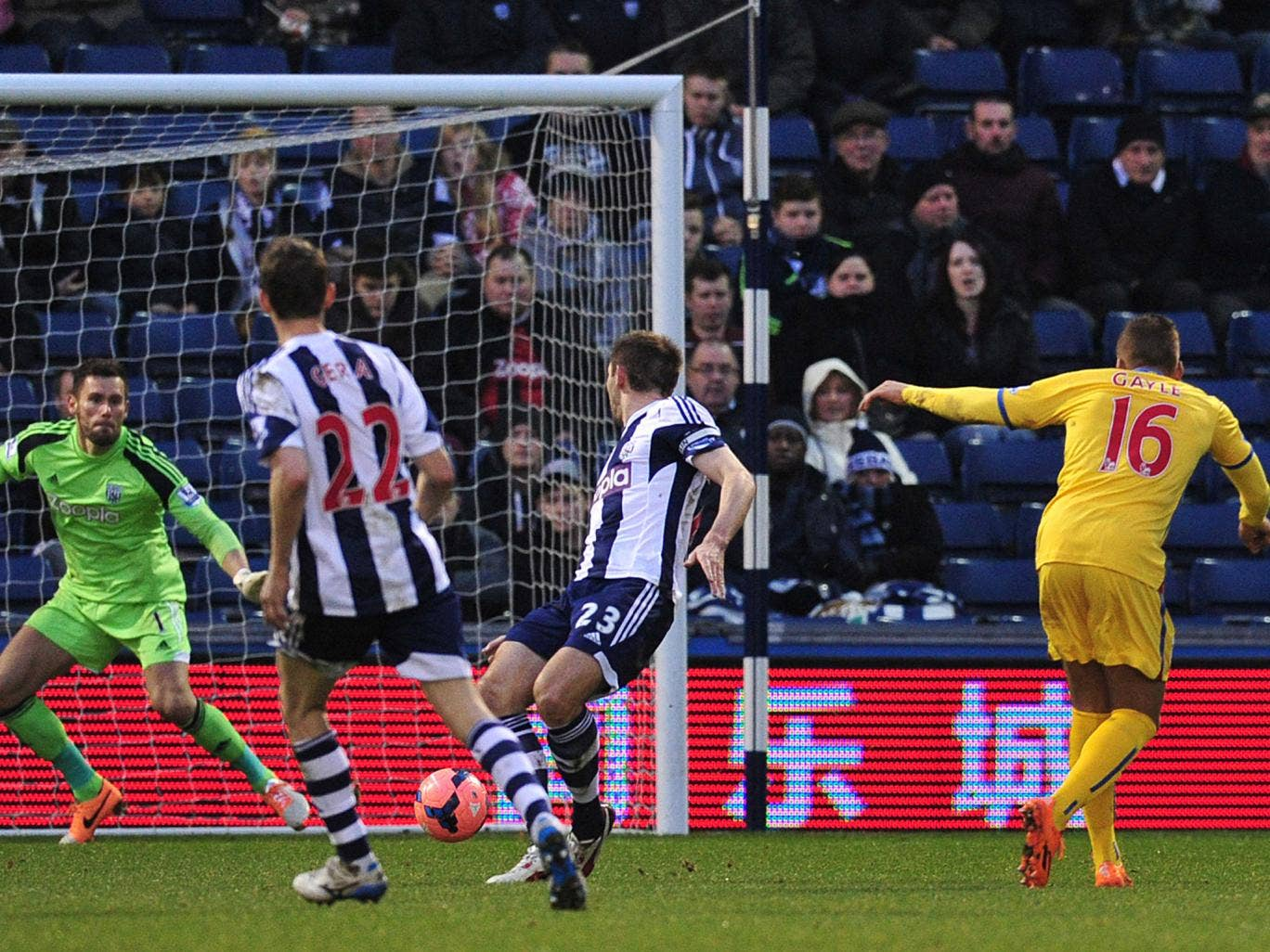 Dwight Gayle scores for Crystal Palace in their 2-0 win over West Brom