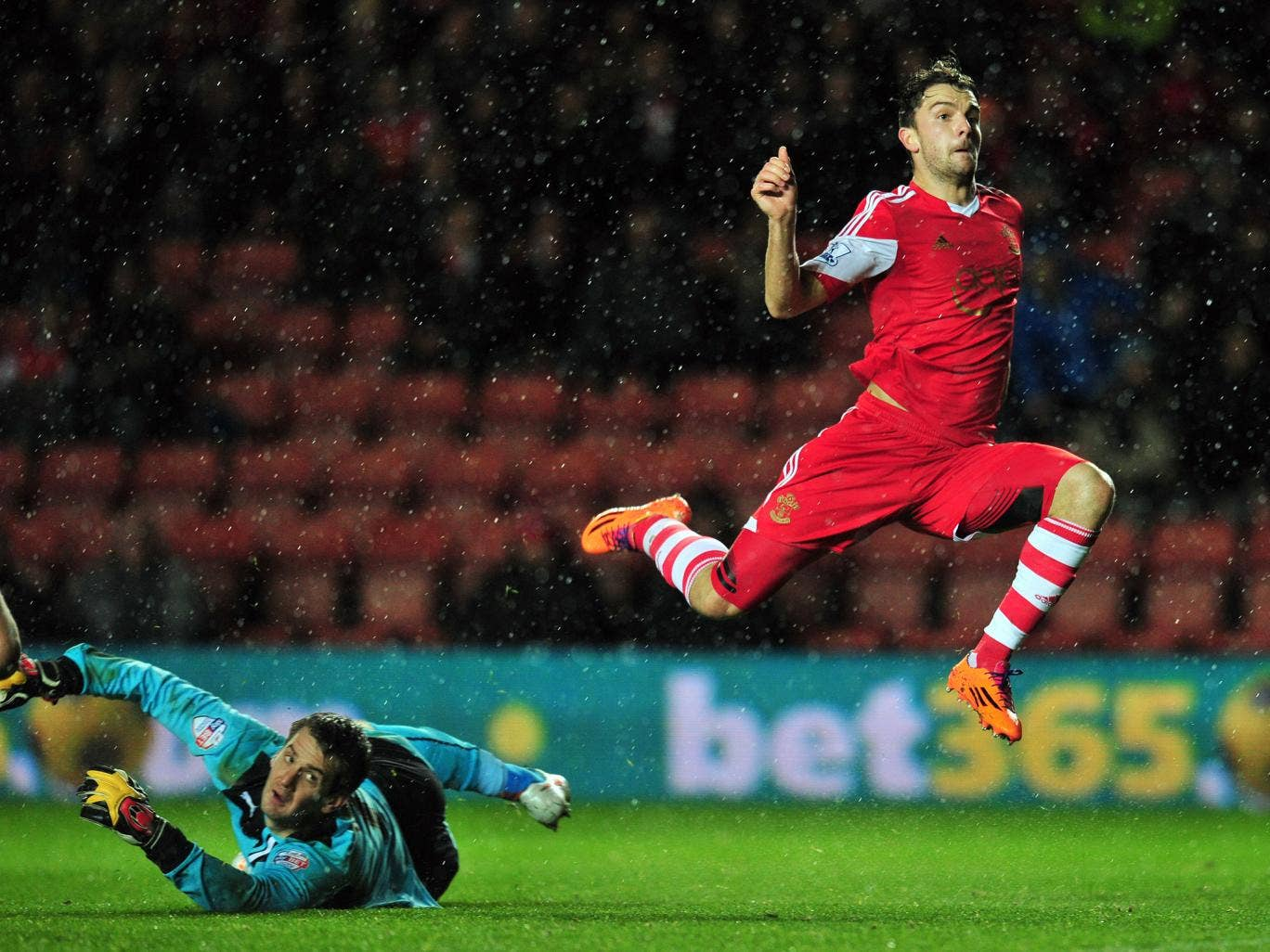 Southampton striker Jay Rodriguez shoots against Burnley