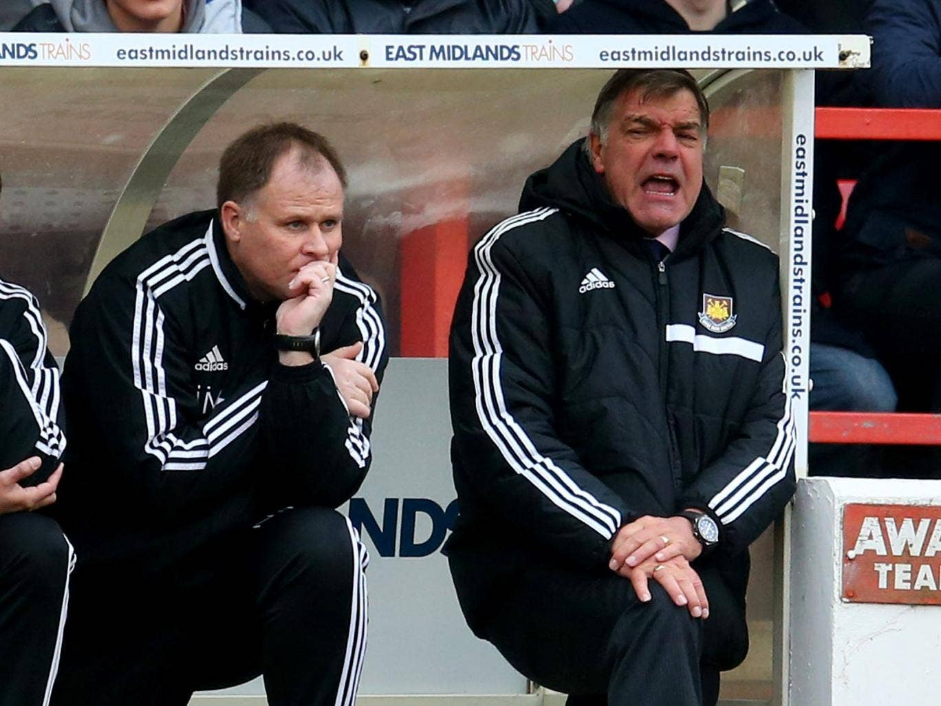 Sam Allardyce (right) looks on from the touchline in frustration against Nottingham Forest on Sunday