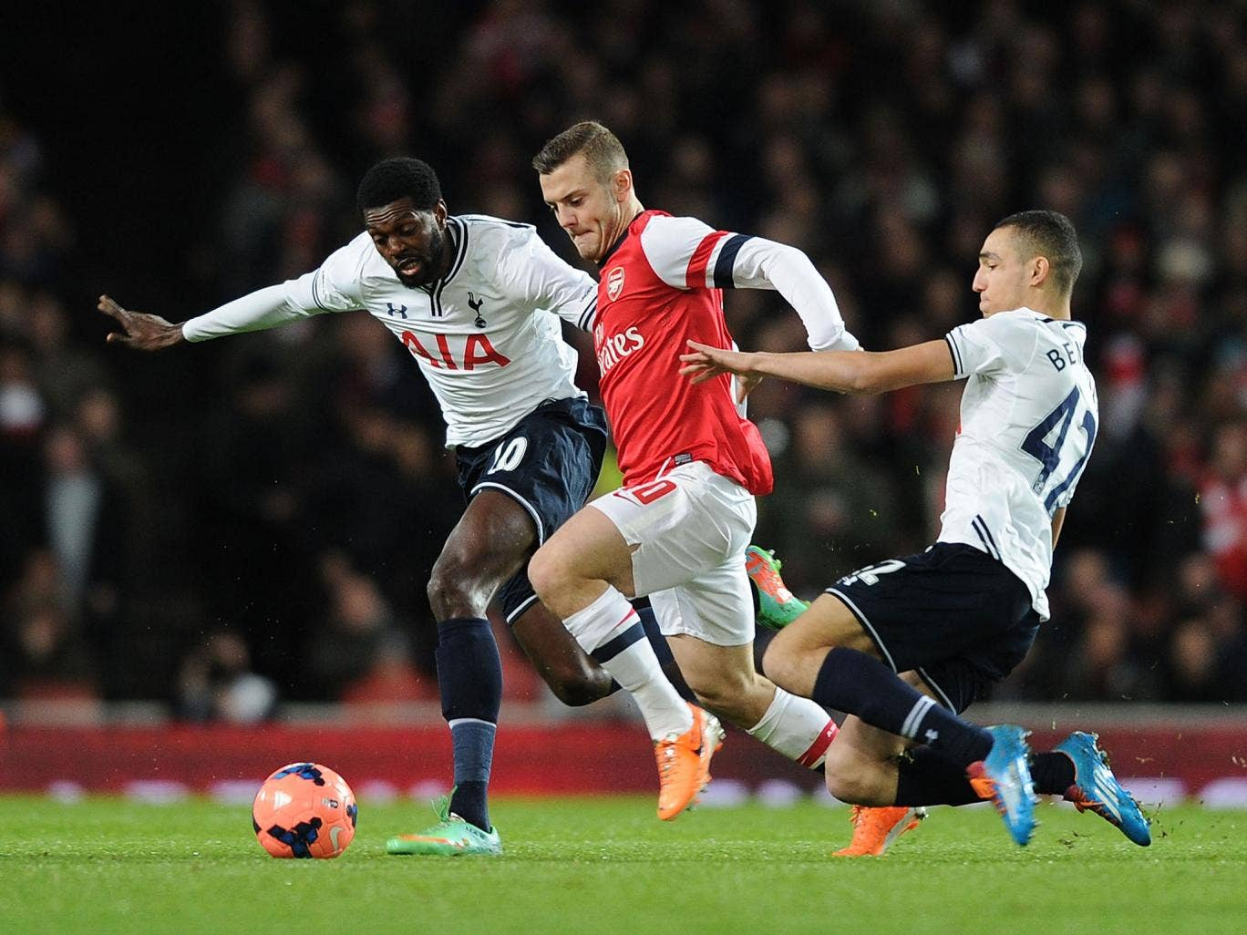 Jack WIlshere attempts to unlock the Tottenham defence during Arsenal's 2-0 FA Cup victory