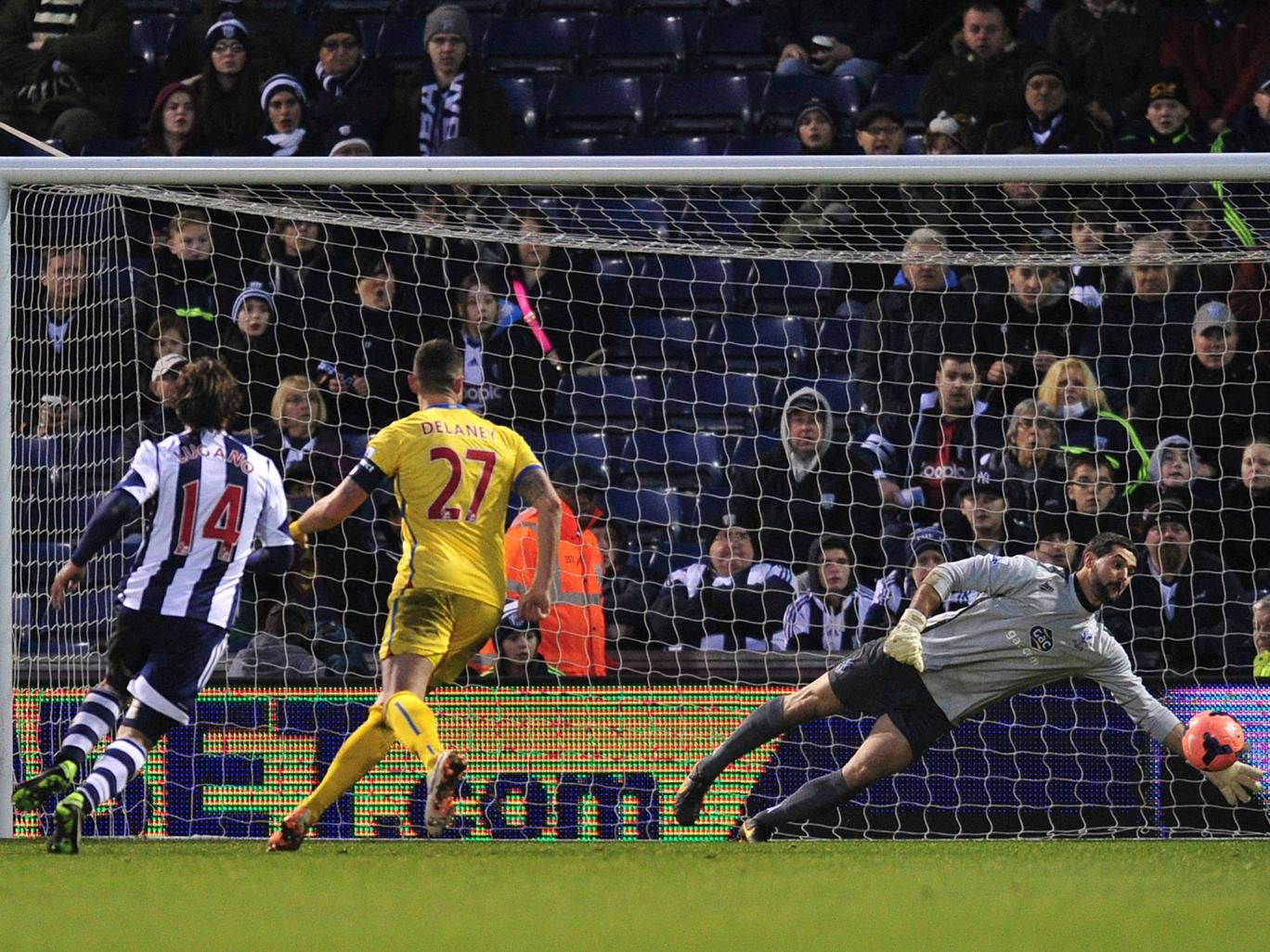 Julian Speroni makes a save during Crystal Palace's FA Cup win over West Brom