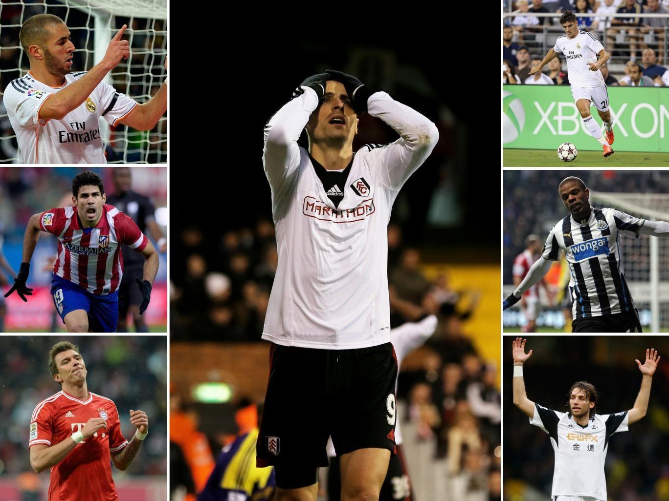 Arsenal could look to sign one of the above strikers (Clockwise from top-left) Karim Benzema, Dimitar Berbatov, Alvaro Morata, Loic Remy, Michu, Mario Mandzukic, Diego Costa