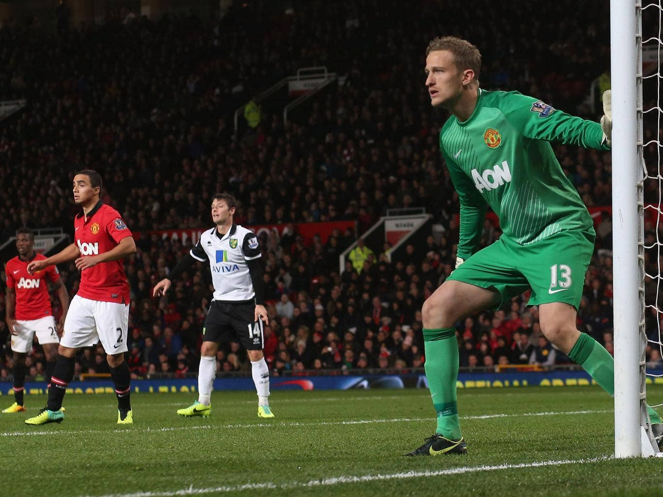 Anders Lindegaard in action for Manchester United against Norwich City