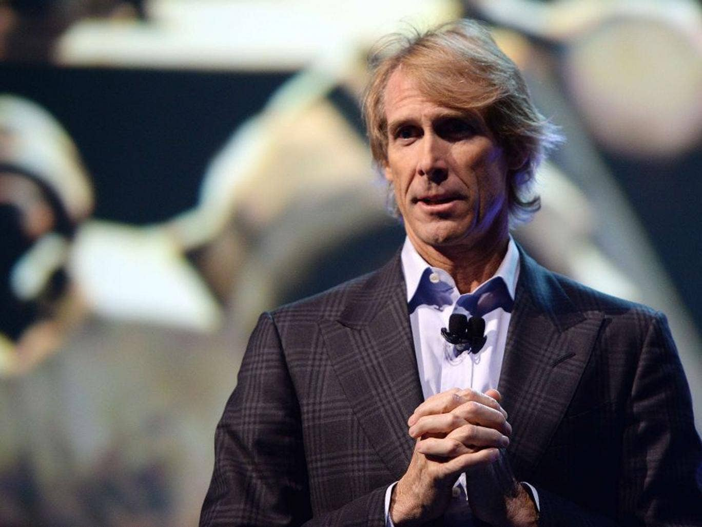 Michael Bay on stage with Samsung VP Joe Stinziano at the Consumer Electronic Show