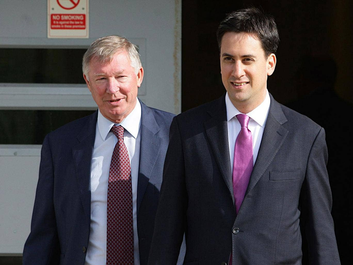 Alex Ferguson and Ed Miliband at Manchester United's training ground in 2010