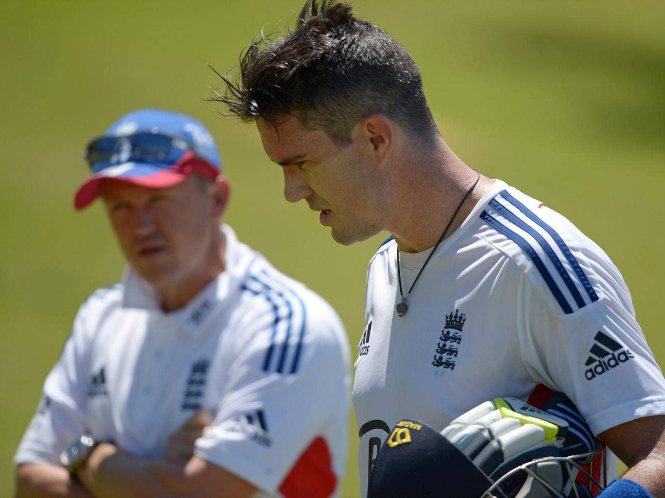 Kevin Pietersen with Andy Flower