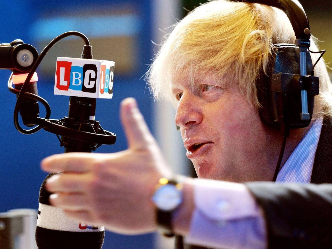 Mayor of London Boris Johnson expresses his views on LBC