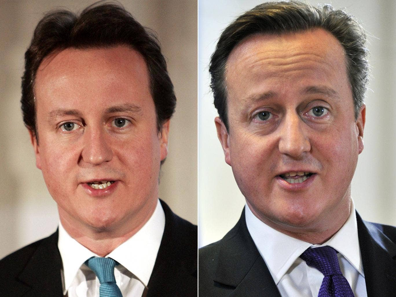 Hair today: David Cameron with a bouffant style (left) and his current cut
