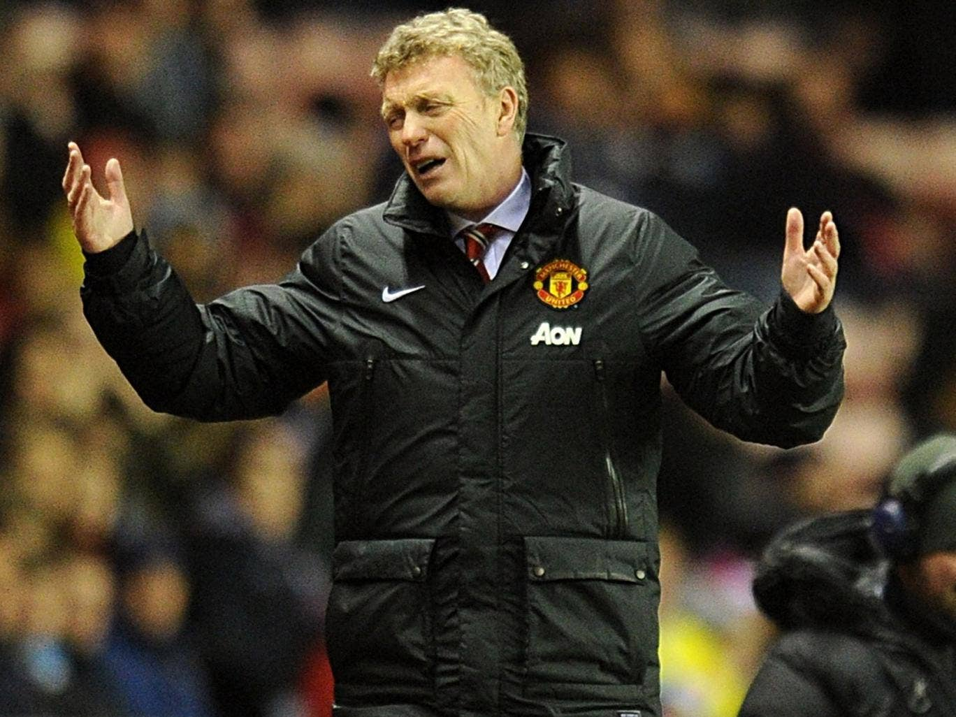David Moyes shows his frustration on another difficult night for the United manager