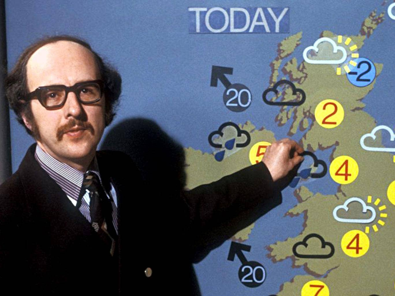 Calm before the storm: BBC weather forecaster Michael Fish in 1979