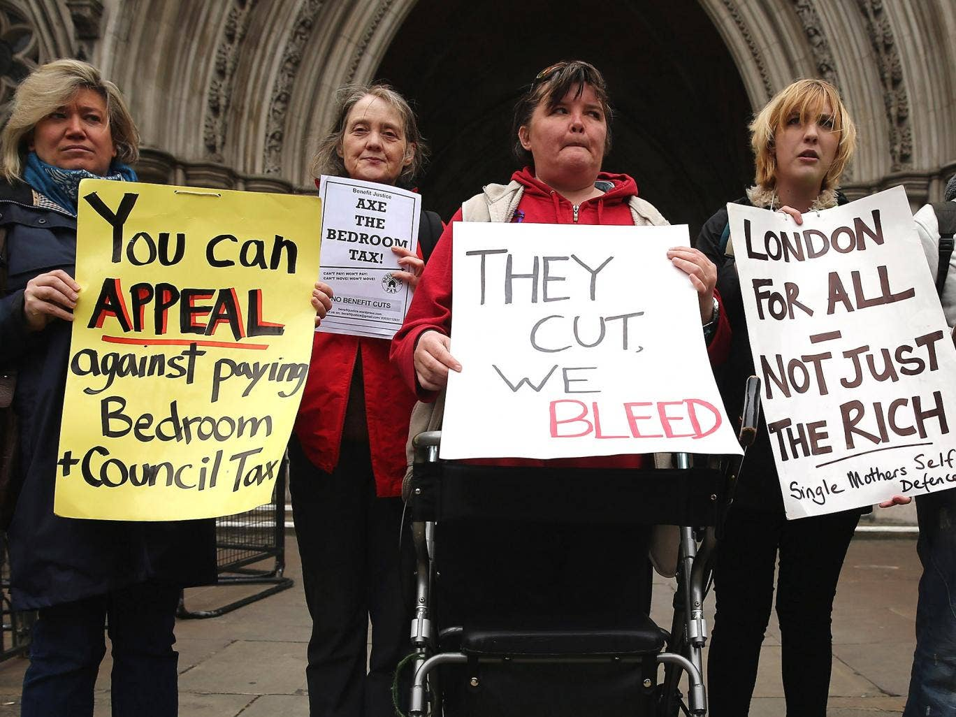 Demonstrators protesting against the bedroom tax outside the High Court, last year