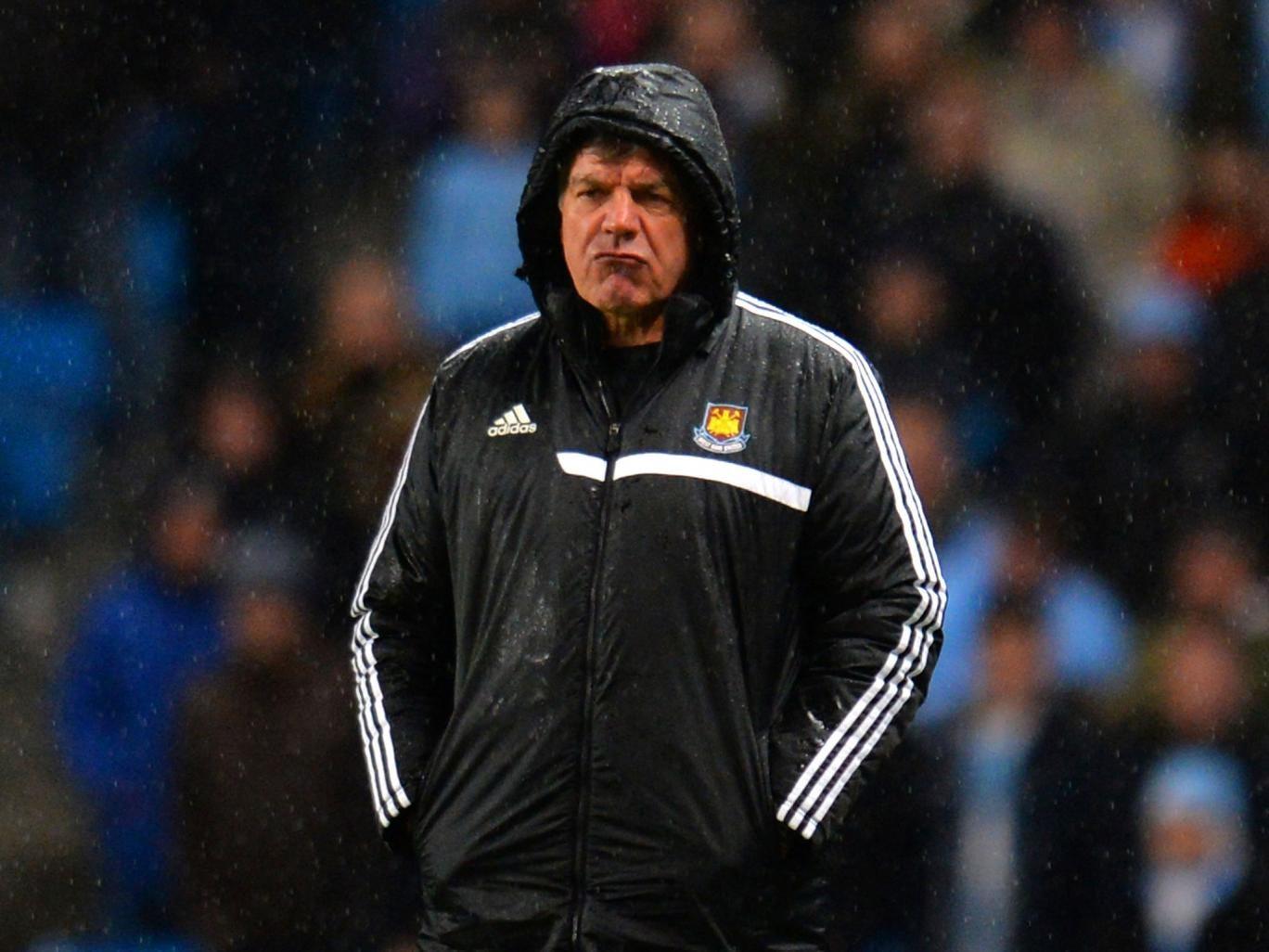Sam Allardyce looks on during West Ham's 6-0 thrashing at Manchester City on Wednesday