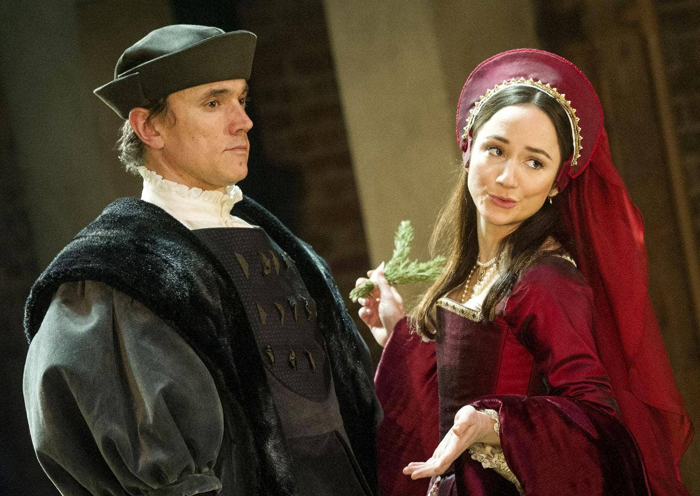 Ben Miles as Thomas Cromwell and Lydia Leonard as Anne Boleyn in Wolf Hall
