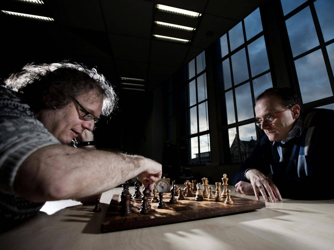 Jon Speelman plays against auction winner Stephen Woodhouse