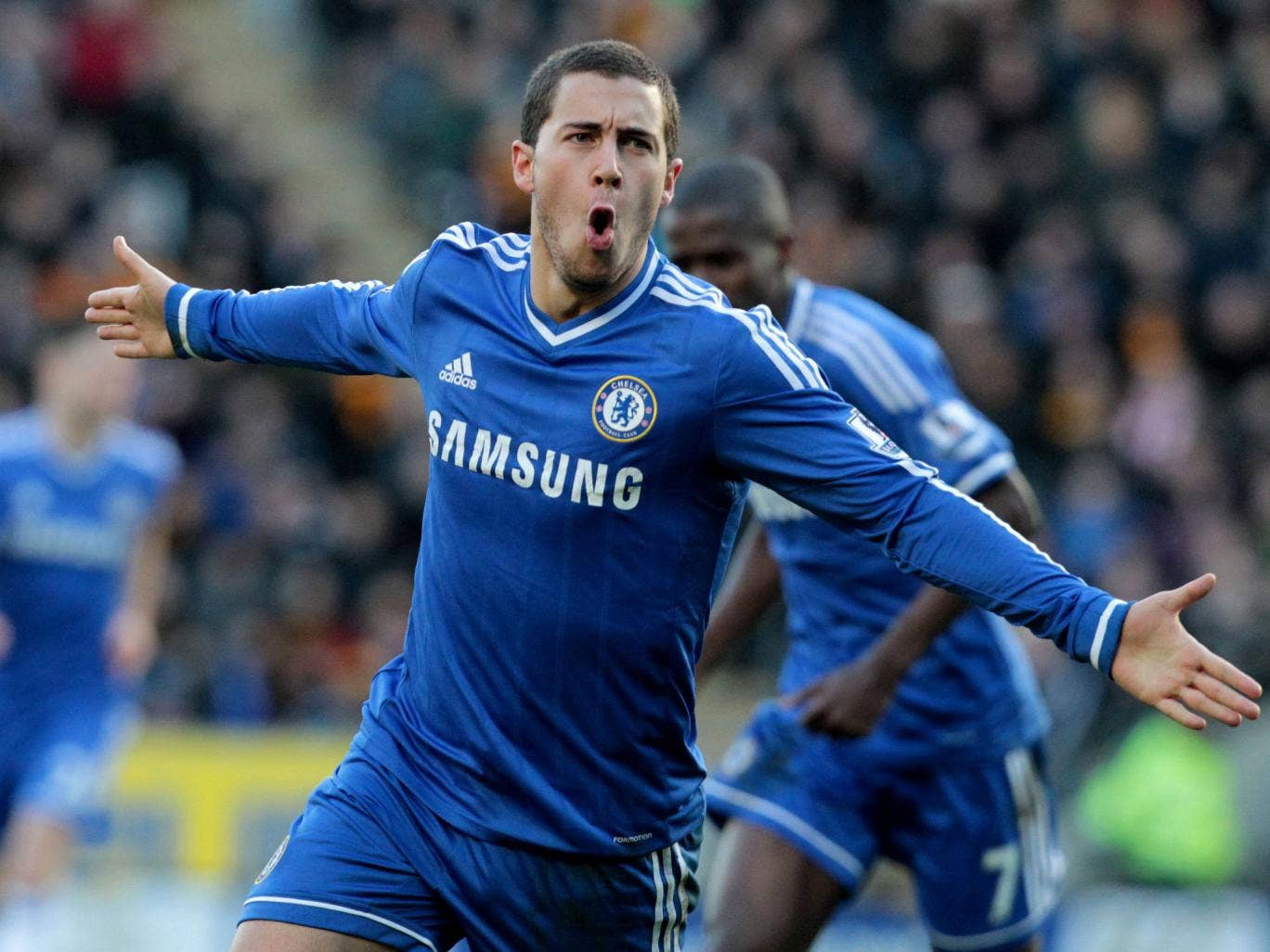Eden Hazard celebrates after scoring a brilliant opener in Chelsea's 2-0 win over Hull