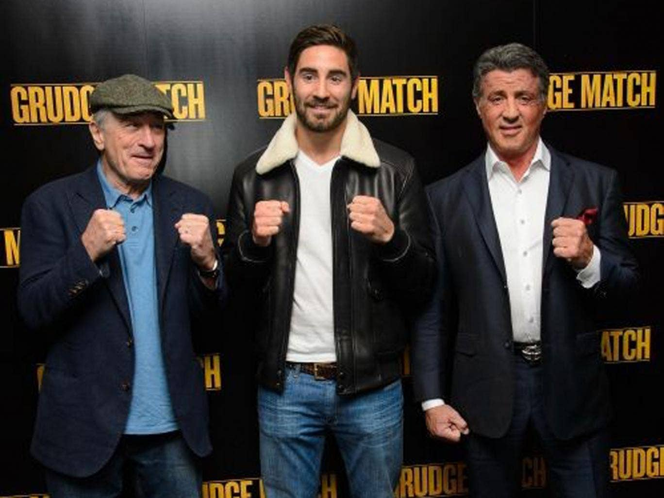 Grudging respect: Robert de Niro, 'Grudge Match' director Peter Segal and Sylvester Stallone in London