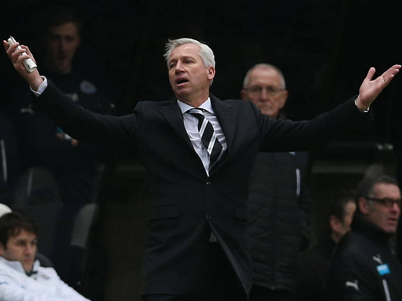 Alan Pardew is left furious and bemused as Cheik Tiote's goal is ruled out for offside during Newcastle's 2-0 defeat to Manchester City
