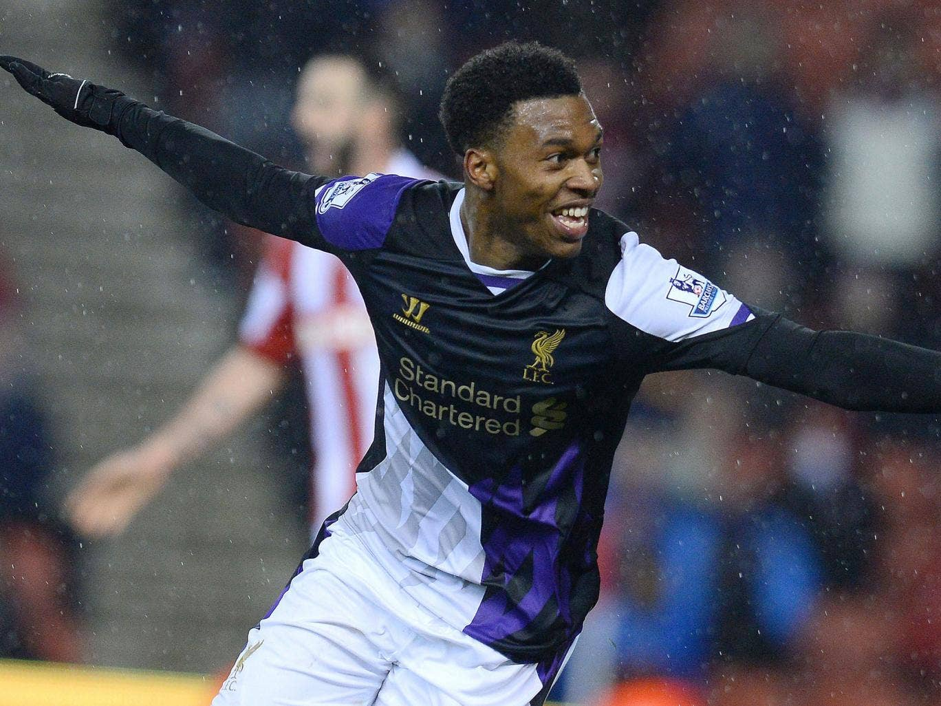 Liverpool striker Daniel Sturridge celebrates after scoring their fifth goal in the 5-3 victory over Stoke City