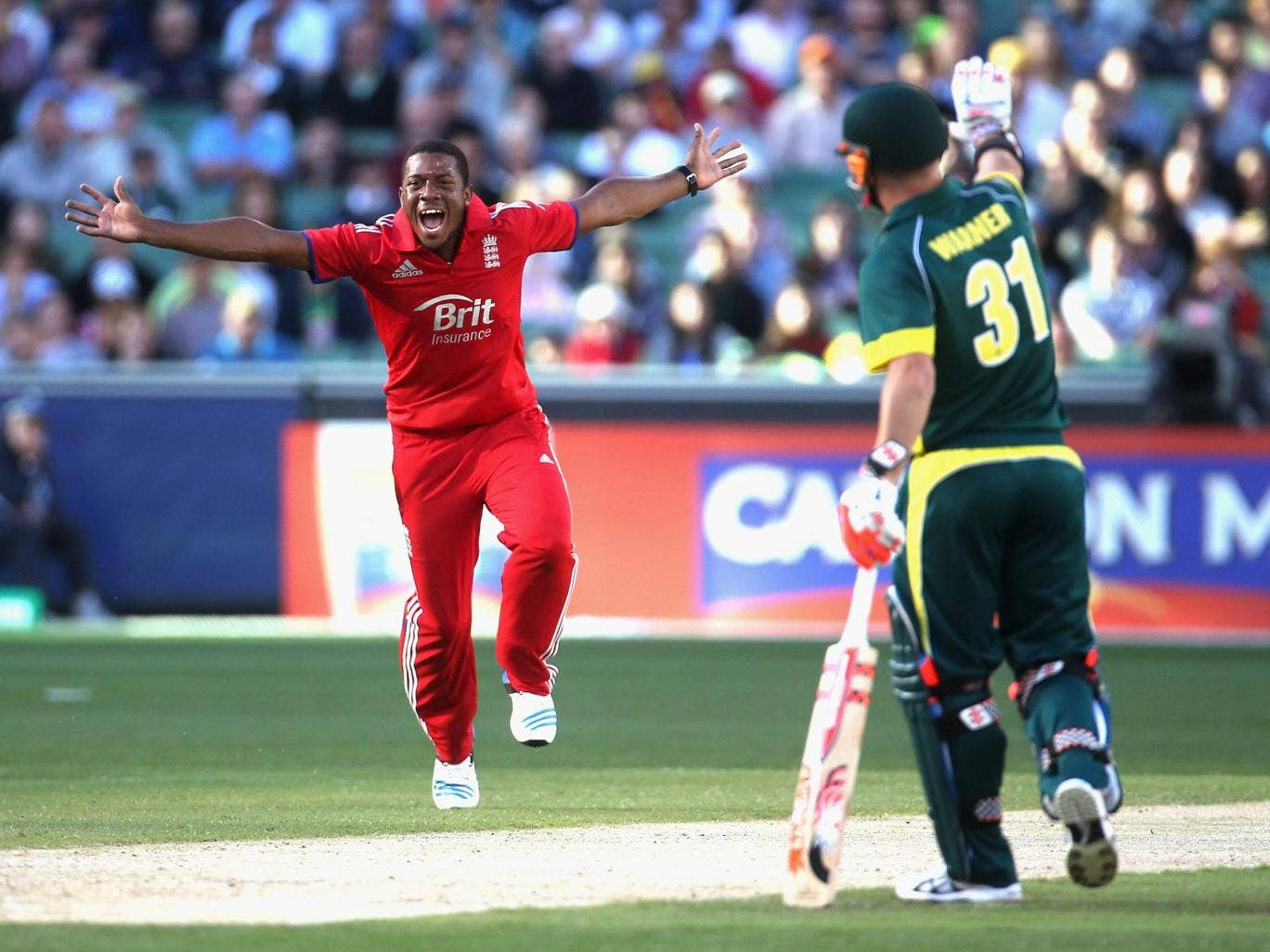 Chris Jordan appeals for an lbw decision during the first one-dayer against Australia