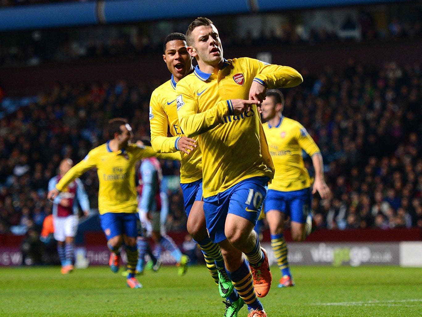 Arsenal's Jack Wilshere celebrates scoring the opening goal in the Gunners' 2-1 Premier League victory over Aston Villa