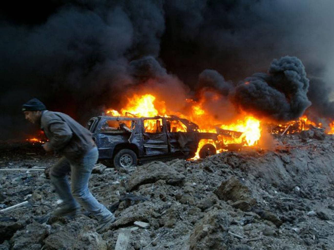 The roadside bomb attack that killed the Lebanese Prime Minister Rafiq Hariri in Beirut in February 2005