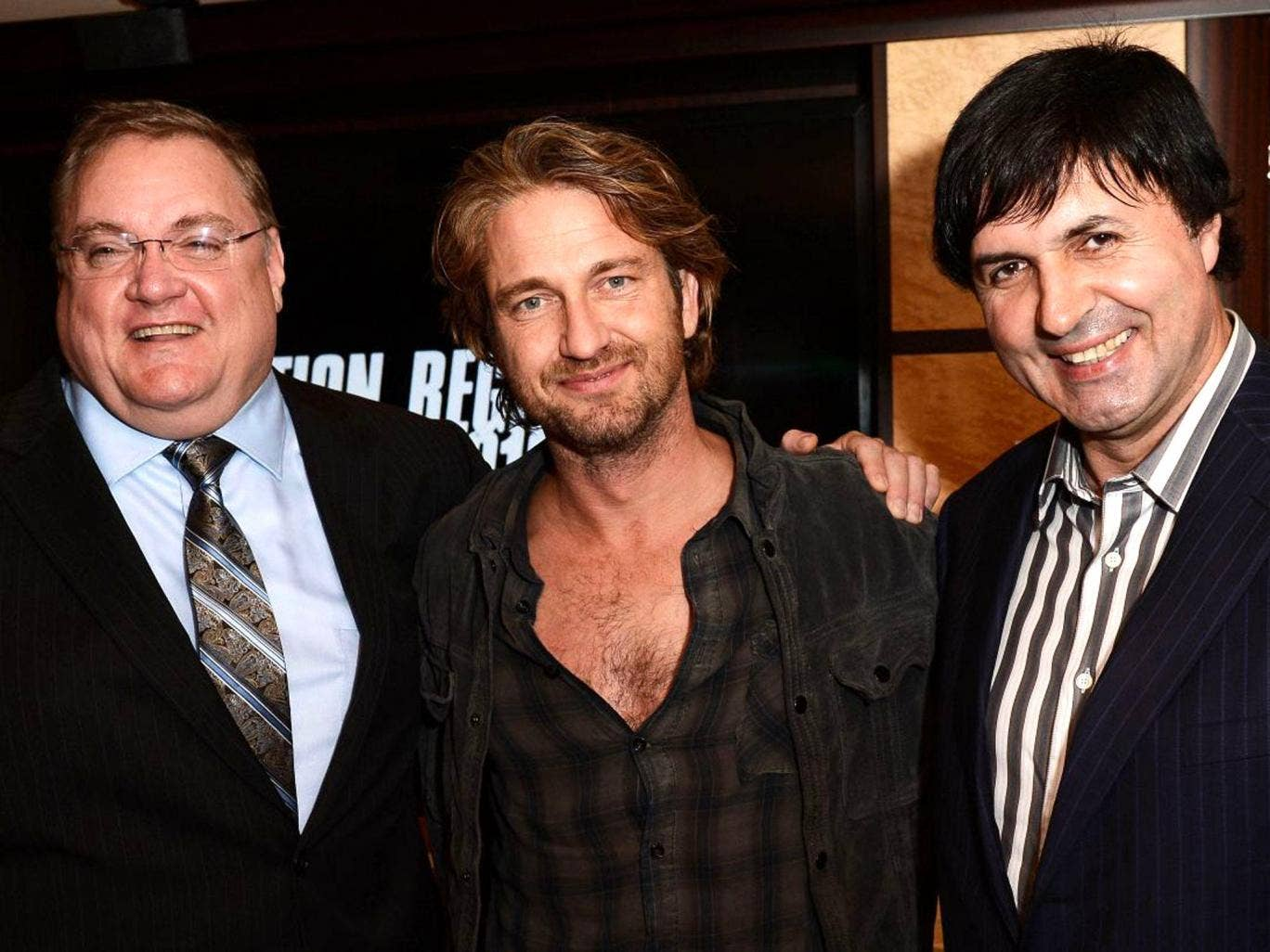 (From left) Remington Chase, Gerard Butler and Stepan Martirosyan worked together on 'Motor City'