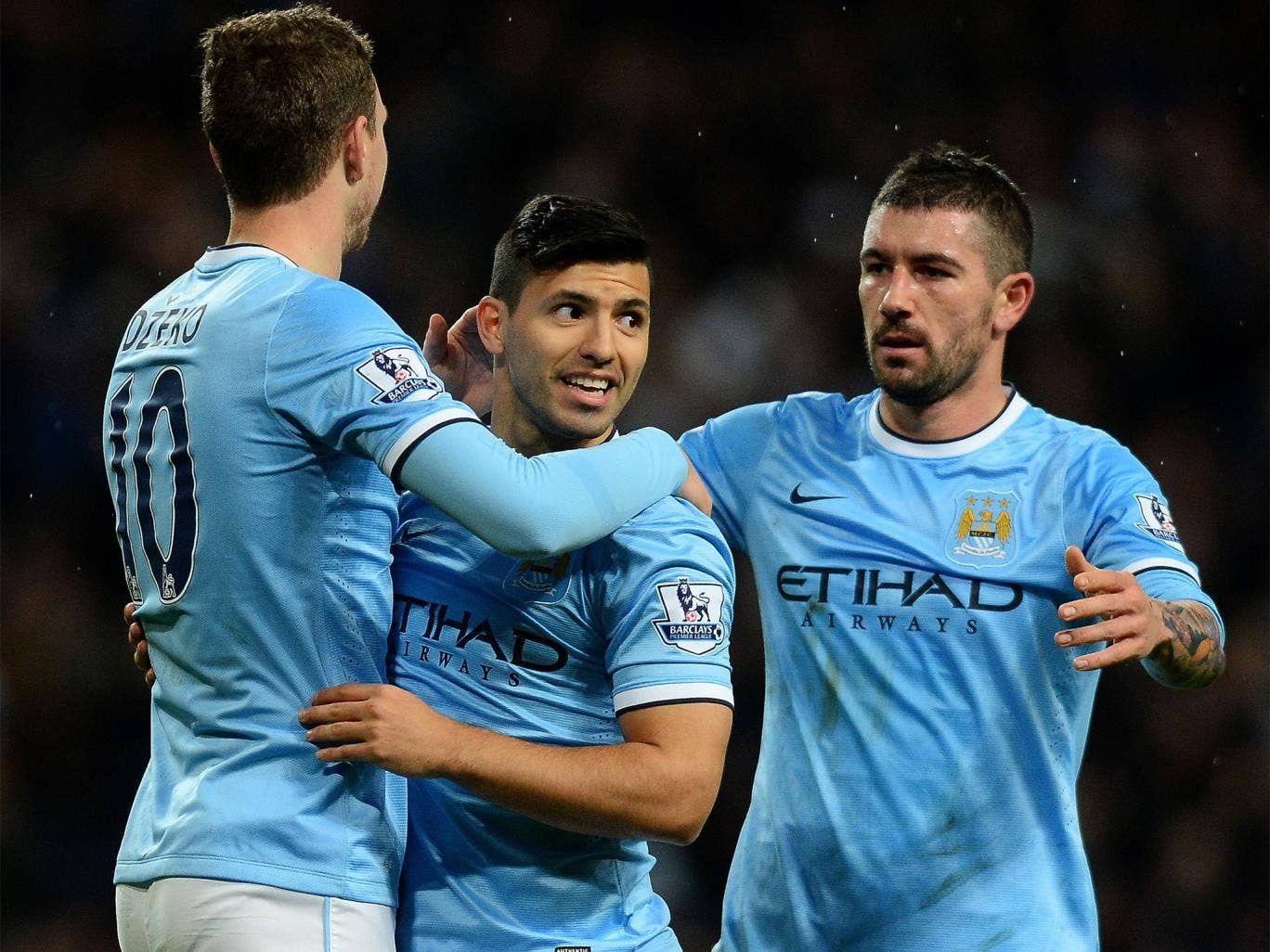 Sergio Aguero (centre) celebrates scoring in Manchester City's 5-0 FA Cup win less than a minute after coming on as substitute