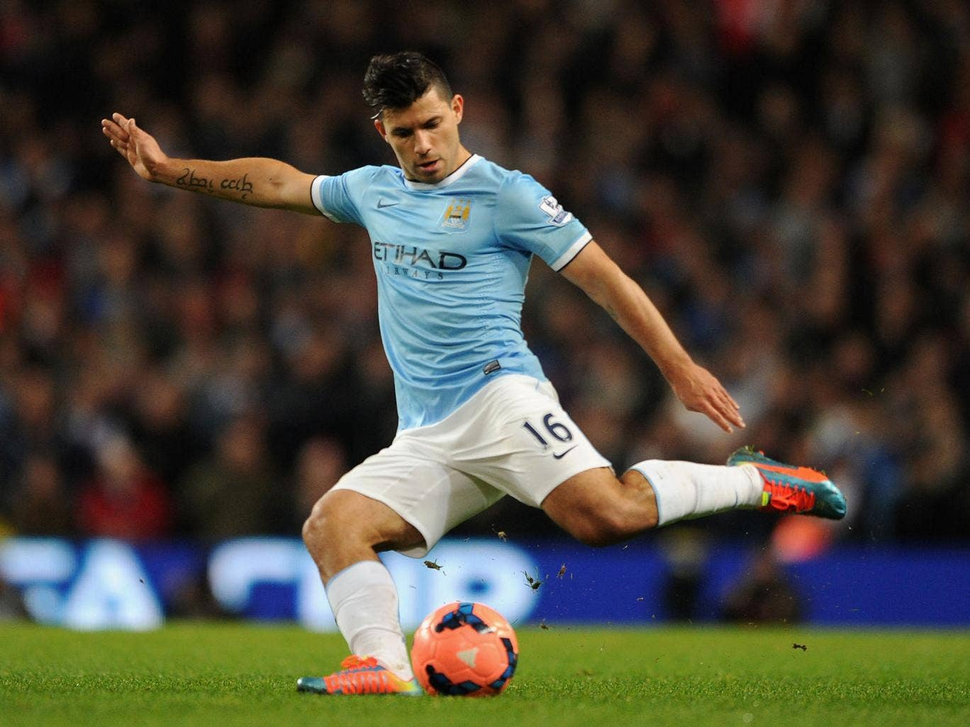 Sergio Aguero shoots during the 5-0 win over Blackburn Rovers after an eight-match absence for Manchester City