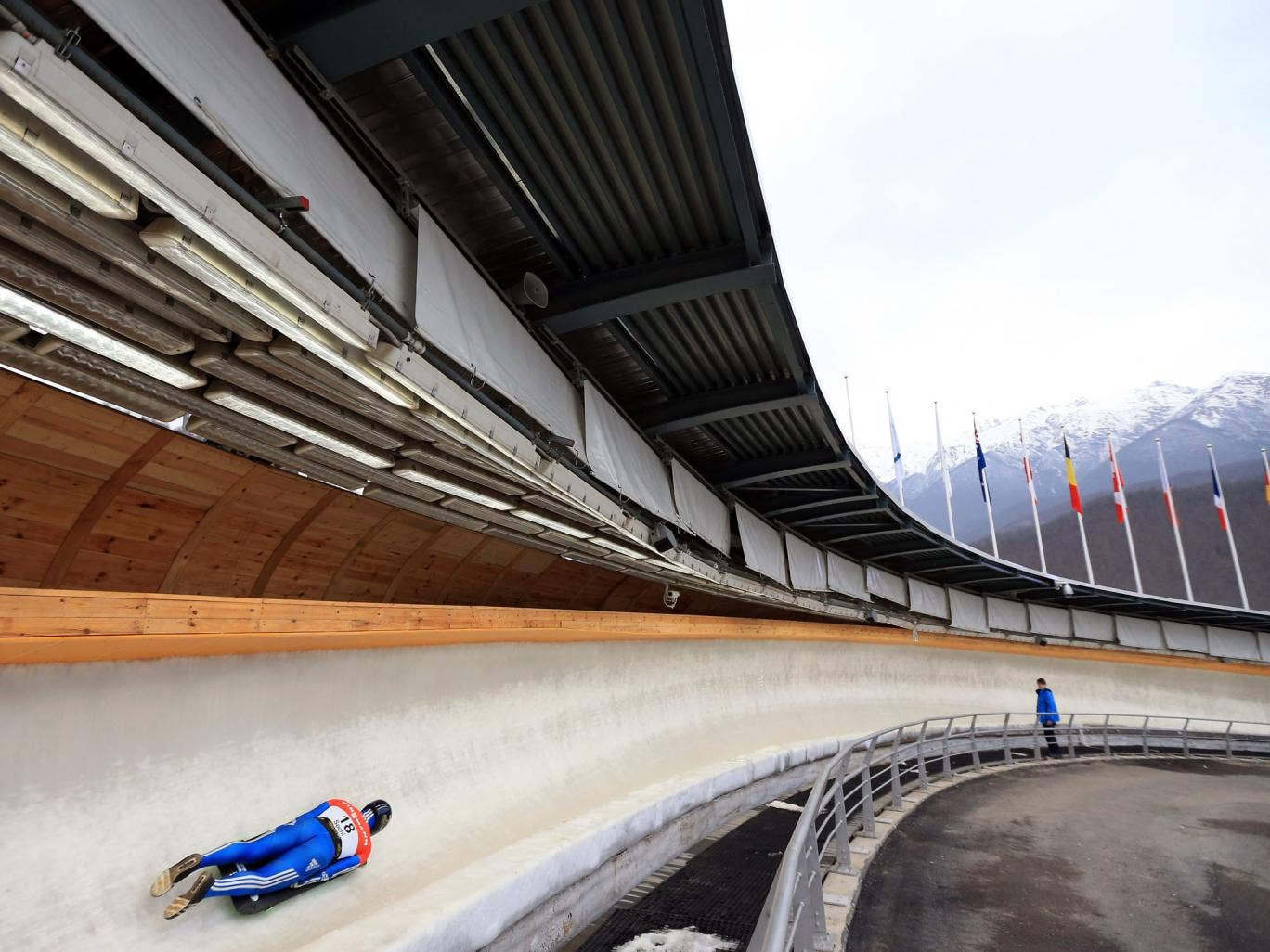 A general view of the track as a Skeleton rider goes down the slope at the Sanki Sliding Center