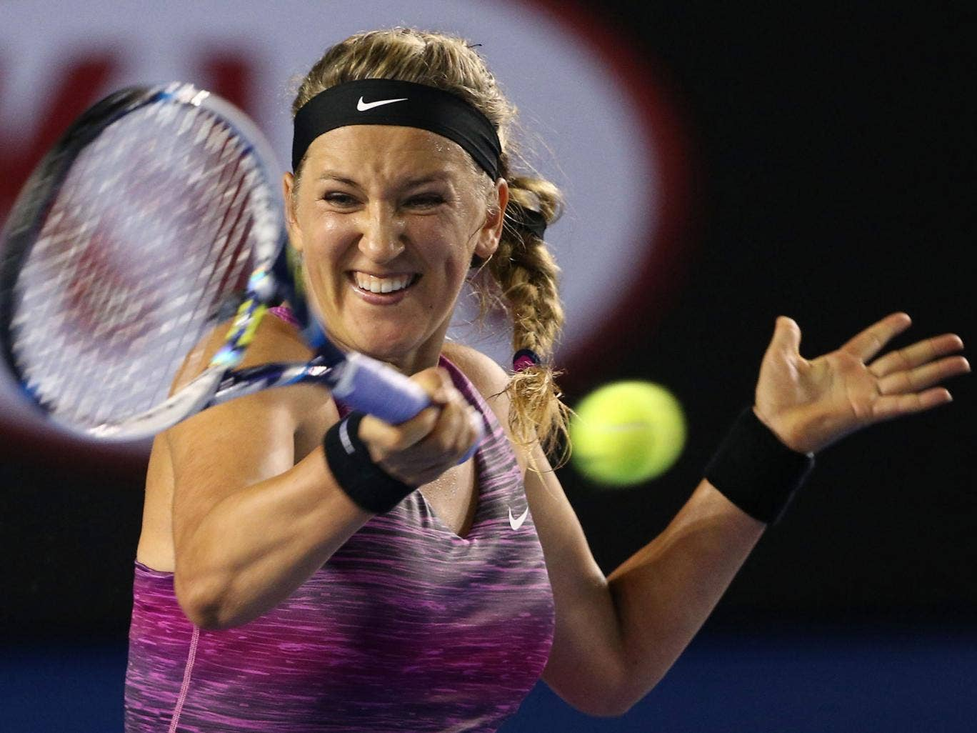 Victoria Azarenka of Belarus plays a forehand in her second round victory over Barbora Zahlavova Strycova of the Czech Republic