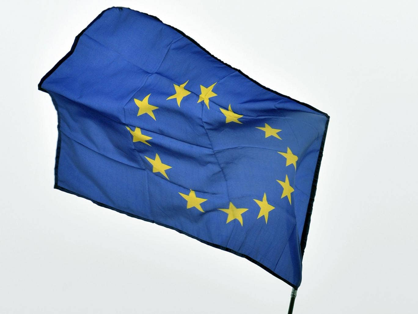 An EU flag flies on Independence Square on November 24, 2013 during a rally in Kiev.